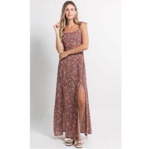 Fanco Brown Flutter Sleeve Floral Maxi Dress S